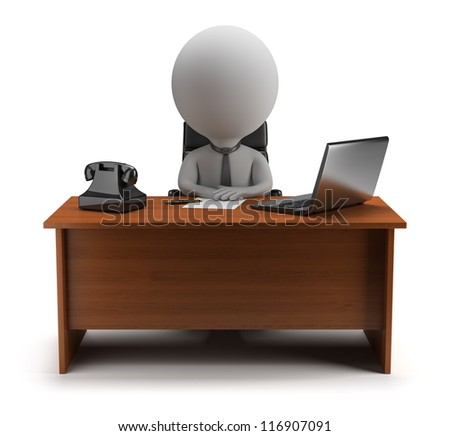 3d small person - manager sits at a desk with a laptop and phone. 3d image. Isolated white background. - stock photo