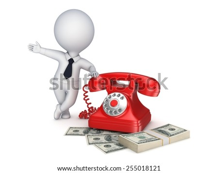 3d small person near vintage telephone and stack of money. - stock photo