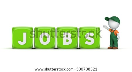 3d small person near word JOBS. - stock photo