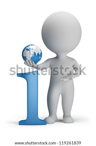 3d small person next to the icon information in his hand globe. 3d image. Isolated white background. - stock photo