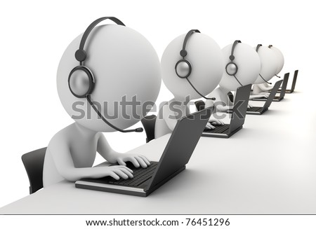 3d small person - operators sitting at laptops in ear-phones with a microphone. 3d image. Isolated white background. - stock photo