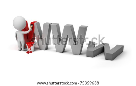 3d small person painting letters www. 3d image. Isolated white background. - stock photo