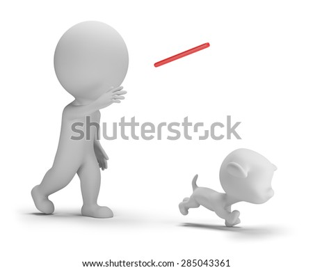 3d small person playing with the dog. 3d image. Isolated white background.