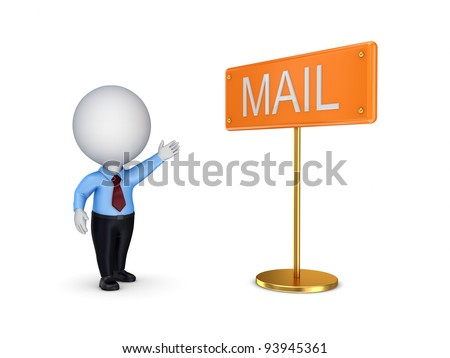 3d small person pointing on a bunner MAIL.Isolated on white background. - stock photo