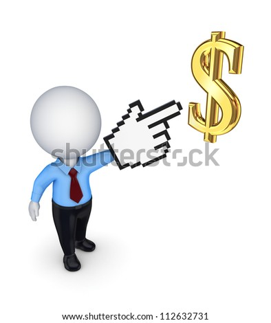 3d small person pointing to dollar symbol.Isolated on white background.