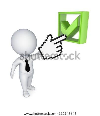 3d small person pointing to tick mark.Isolated on white background.3d rendered. - stock photo