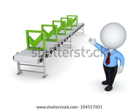 3d small person points to the conveyor with green tick marks.Isolated on white background. - stock photo