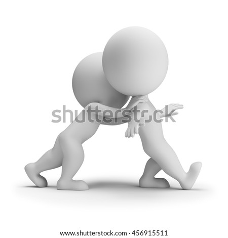 3d small person pushes another person. 3d image. White background.