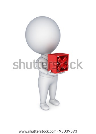 3d small person pushing a green tick mark.Isolated on white background. - stock photo