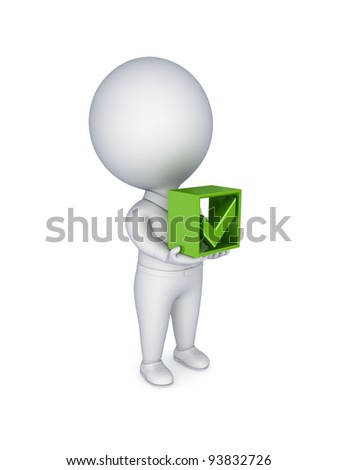 3d small person pushing a red cross mark. Isolated on white background. - stock photo