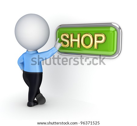 3d small person pushing button SHOP. - stock photo