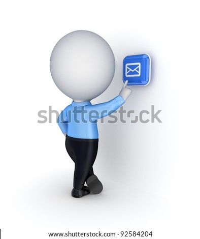 3d small person pushing evelope button.Isolated on white background. - stock photo