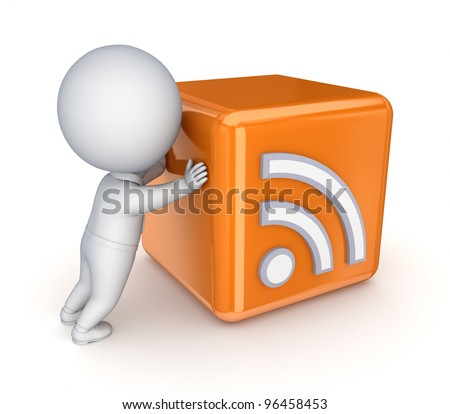 3d small person pushing RSS symbol.Isolated on white background. - stock photo