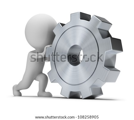 3d small person rolls a large gear. 3d image. Isolated white background. - stock photo
