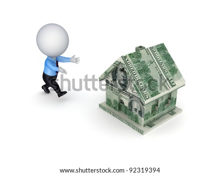 3d small person running to a house made of dollars.Isolated on white background.