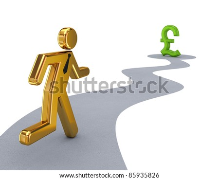 3d small person running to a pound sterling sign.Isolated on white background. - stock photo