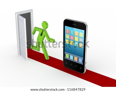 3d small person running to mobile phone.Isolated on white background.3d rendered. - stock photo