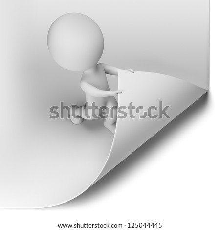 3d small person - scroll the large page. 3d image. Isolated white background. - stock photo