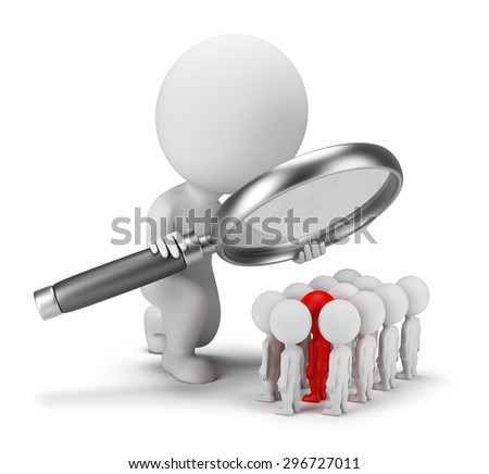 3d small person selects staff. 3d image. White background.