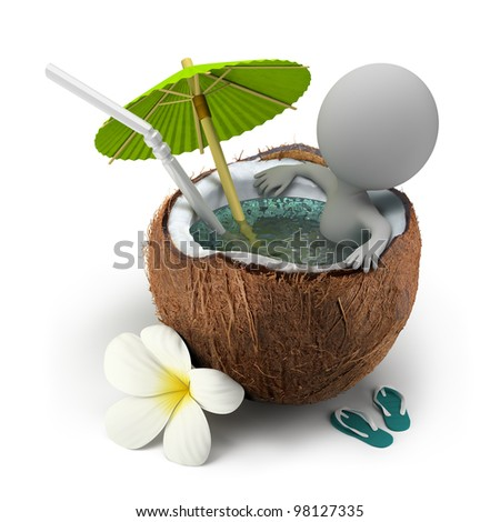3d small person sitting in a coconut bath under an umbrella. 3d image. Isolated white background. - stock photo