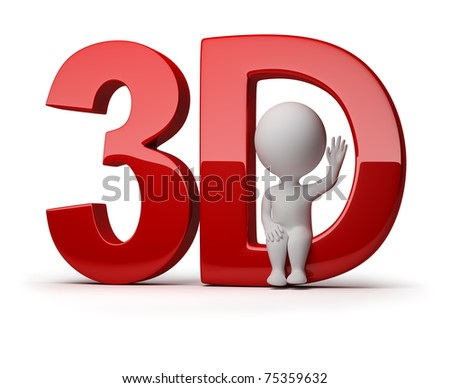 3d small person sitting in a word 3d. 3d image. Isolated white background. - stock photo