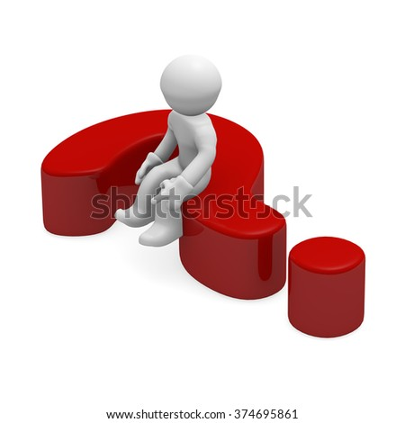 3d small person sitting on a red question mark - stock photo
