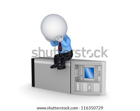 3d small person sitting on ATM.Isolated on white background. - stock photo