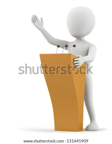 3d small person speaks at the podium. 3D image. On a white background. - stock photo