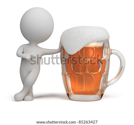 3d small person standing next to a glass of beer. 3d image. Isolated white background. - stock photo