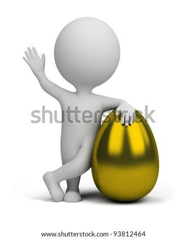 3d small person standing next to a golden egg. 3d image. Isolated white background. - stock photo