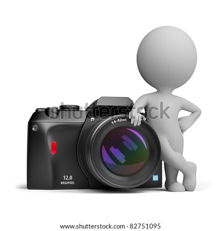 3d small person standing next to a large digital camera. 3d image. Isolated white background. - stock photo