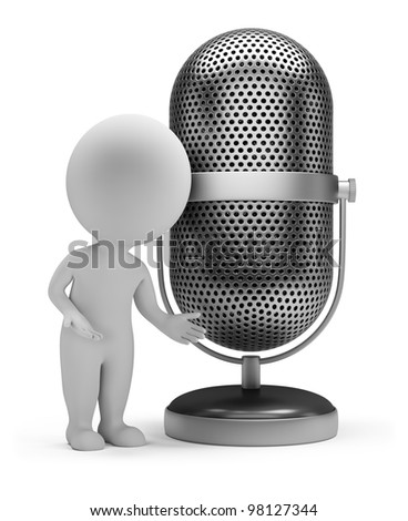 3d small person standing next to a vintage microphone. 3d image. Isolated white background.