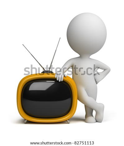 3d small person standing next to a yellow retro TV. 3d image. Isolated white background. - stock photo