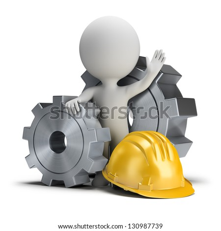 3d small person standing next to the gears and helmet. 3d image. White background. - stock photo