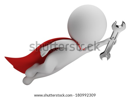 3d small person - superman flying with a wrench in hand. 3d image. White background. - stock photo