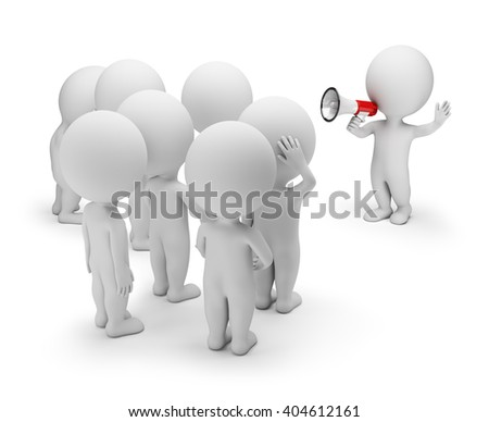 3d small person talking on a megaphone to the crowd. 3d image. White background. - stock photo