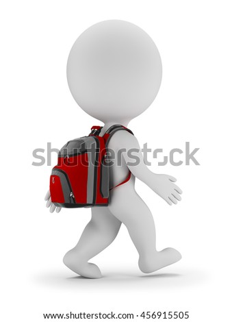 3d small person walks with bag to school. 3d image. White background.