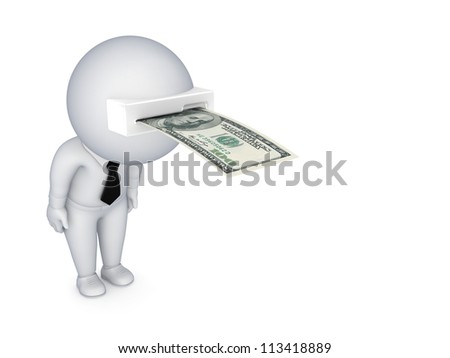 3d small person with a banknote in a head.Isolated on white background.3d rendered. - stock photo