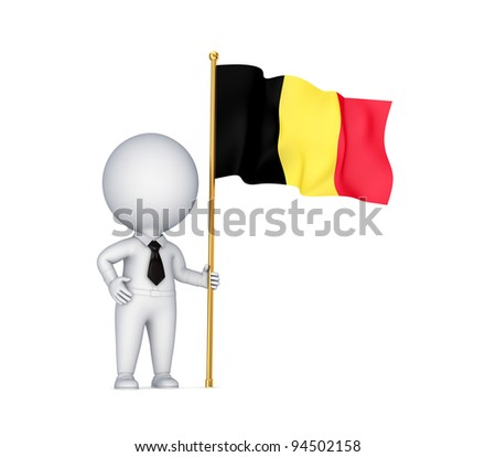 3d small person with a Belgium flag in a hand.Isolated on white background.