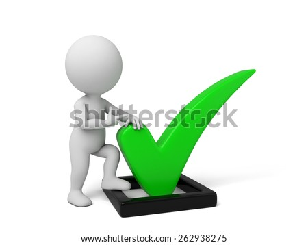 3d small person with a big check mark. 3d image. Isolated white background - stock photo