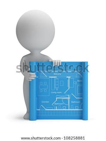 3d small person with a blueprint. 3d image. Isolated white background. - stock photo