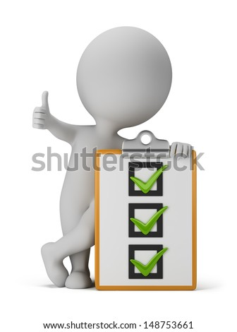 3d small person with a checklist. 3d image. White background. - stock photo