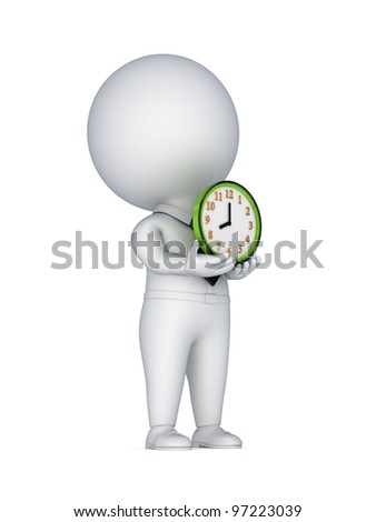 3d small person with a colorful clock in a hands.Isolated on white background. - stock photo