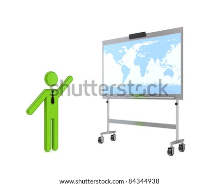 3d small person with a flipchart and word's map.Isolated on white background. - stock photo