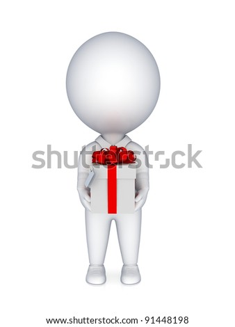 3d small person with a gift box in a hands.Isolated on white background.