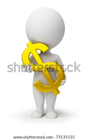3d small person with a gold symbol of dollar in hands. 3d image. Isolated white background. - stock photo
