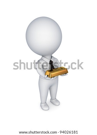 3d small person with a  golden bar in hands.Isolated on white background. - stock photo