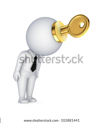 3d small person with a golden key in a hands.Isolated on white background. - stock photo