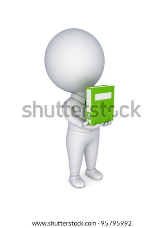 3d small person with a green folder in hands.Isolated on white background.