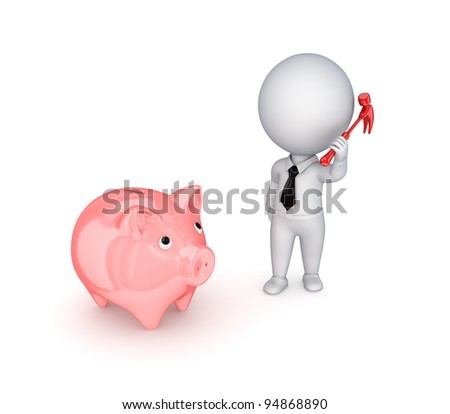 3d small person with a hammer in a hand and piggy bank.Isolated on white background.